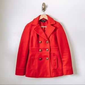 Forever 21 Bright Red Winter Pea Coat